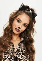 Missguided Halloween Black Lace Ears Headband