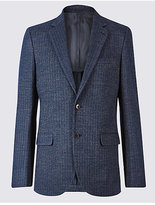 M&S Collection Wool Blend Knitted Herringbone Jacket