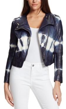 Skinnygirl Dan Tie-Dyed Faux-Leather Jacket