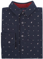 Andy & Evan Long-Sleeve Deer-Print Flannel Shirt, Navy, Size 2-7