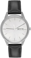 Uniform Wares Silver and Black Leather C40 Calendar Watch