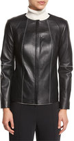 Magaschoni Leather Peplum Jacket w/ Contrast Whipstitching, Black