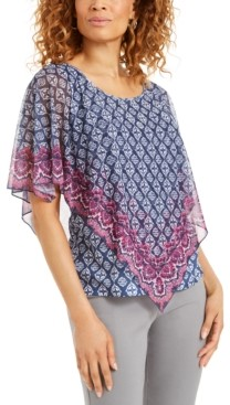 JM Collection Printed Overlay Top, Created for Macy's