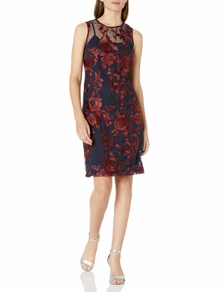 Donna Ricco Women's Embroidered Mesh Sleeveless Dress