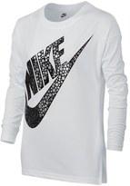 Nike Swoosh Graphic Print Long Sleeve Tee (Big Girls)