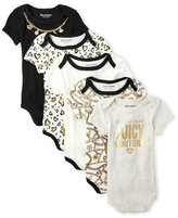 Juicy Couture Newborn/Infant Girls) 5-Pack Wild At Heart Bodysuits