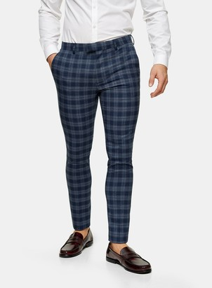 Topman Blue Check Super Skinny Fit Suit Trousers