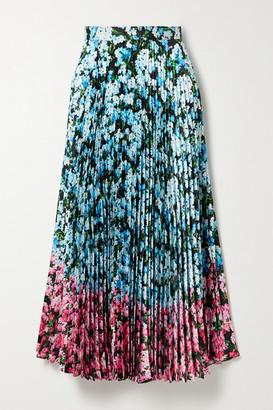 Mary Katrantzou Uni Pleated Floral-print Satin-twill Midi Skirt - Blue