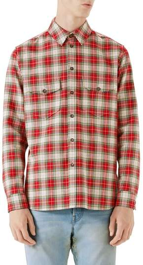 Gucci Embroidered Snake Oversize Plaid Shirt