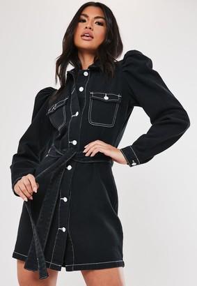 Missguided Black Puff Sleeve Tie Waist Denim Shirt Dress