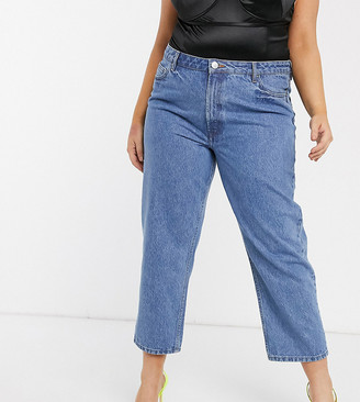 Asos DESIGN Curve Recycled Florence authentic straight leg jeans in pretty mid stonewash blue