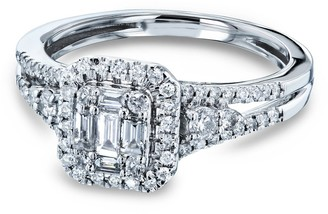 Annello by Kobelli 14k White Gold 1/2 Carats TDW Baguette and Round Diamond Cluster Halo Split Shank Accented Engagement Ring
