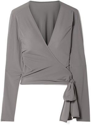 Norma Kamali Dolman Cropped Stretch-jersey Wrap Top