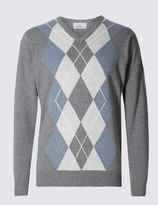 Marks and Spencer Pure Cotton Argyle Jumper