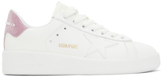 Golden Goose White and Pink Purestar Sneakers