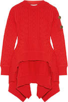 Sonia Rykiel Asymmetric Cable-knit Sweater - Red