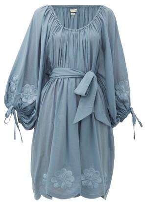 Innika Choo Frida Burds Embroidered Cotton Mini Dress - Womens - Blue
