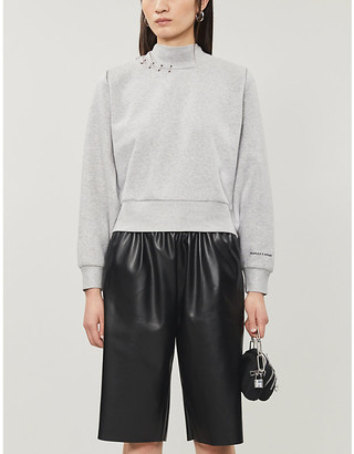 The Kooples Sport Eyelet-detail relaxed-fit cotton-jersey jumper