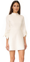 Tibi Bond Stretch Mock Neck Tie Sleeve Dress