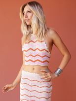 West Coast Wardrobe Desert Sunset Crochet Stripe Halter Top in Pink-Ivory Stripe