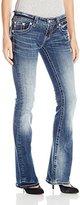 Miss Me Women's Plaid Cross Boot Cut Denim Jean