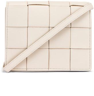 Bottega Veneta Woven Leather Crossbody Bag in Plaster | FWRD
