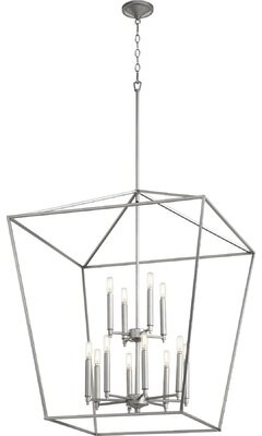 Pollard 12 - Light Lantern Geometric Chandelier Breakwater Bay Finish: Classic Nickel