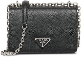 Prada Chain-Link Trim Shoulder Bag