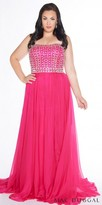 Mac Duggal Crystal Embellished Strapless Chiffon Plus Size Evening Dress