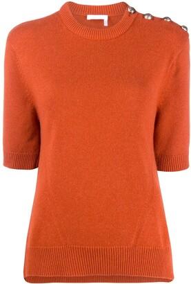 Chloé Cashmere Buttoned Shoulders Top