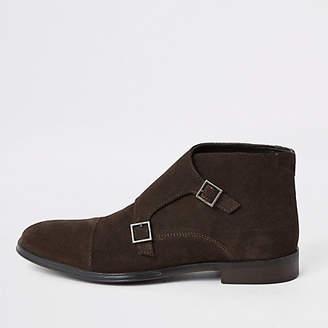 River Island Dark brown suede monk strap boot
