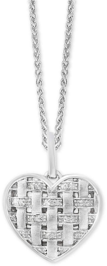 "Effy Balissima by Diamond Woven Heart 18"" Pendant Necklace (1/6 ct. t.w.) in Sterling Silver"