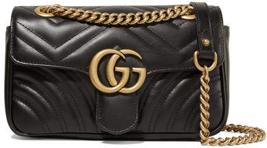 Gucci Gg Marmont Quilted Leather Shoulder Bag - Black