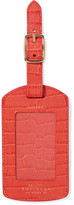 Smythson Mara Croc-effect Leather Luggage Tag - Papaya