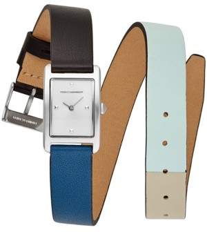 Rebecca Minkoff Women's Moment Black & Blue Double Wrap Leather Strap Watch 19x30mm