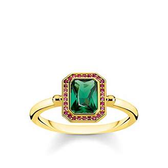 Thomas Sabo Women Ring Red & Green Stones, Gold 925 Sterling Silver, 18k Yellow Gold Plating TR2264-973-7