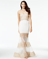 Say Yes to the Prom Juniors' Embellished Illusion Trumpet Gown, A Macy's Exclusive