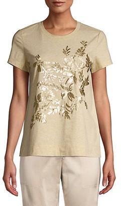 Lafayette 148 New York Embellished Melange Jersey T-Shirt