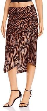 WAYF Ruched Drawstring Tiger Stripe Skirt