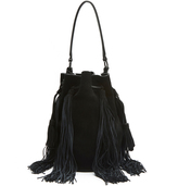 Loeffler Randall Industry Medium Black Suede Bucket Bag