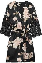 Rosamosario - La Donna Del Fioraio Lace-paneled Floral-print Silk-satin Robe - Black
