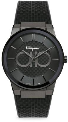 Salvatore Ferragamo Sapphire Black IP & Rubber Strap Watch
