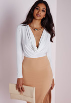 Missguided Tall Cowl Neck Bodysuit White