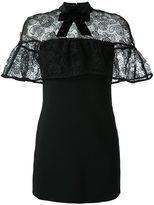 Self-Portrait velvet bow lace cape dress