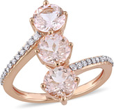Julianna B 2 2/3 CT TW Morganite and Diamond 14K Rose Gold Stacked 3-Stone Ring