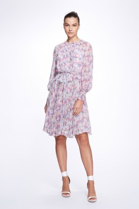 Marchesa Notte Long Smocked Cuff Sleeve Pleated Crinkle Chiffon Dress