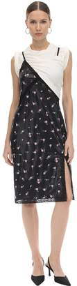 Alexander Wang Cotton & Floral Print Satin Mini Dress