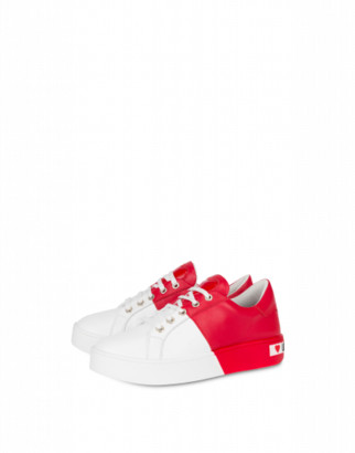Love Moschino Bicolor Calf Leather Sneakers Woman Red Size 35 It - (5 Us)