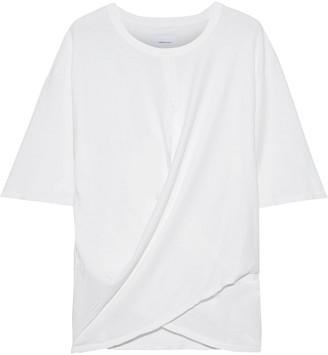 Current/Elliott The Draped Wrap-effect Cotton-jersey T-shirt