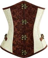 Charmian Women's Steampunk Retro Brocade Spiral Steel Boned Underbust Corset with Buckles